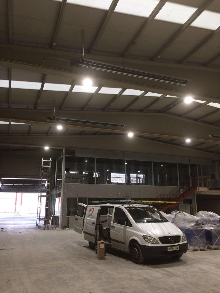 instalacion tubos radiantes pamplona nave industrial